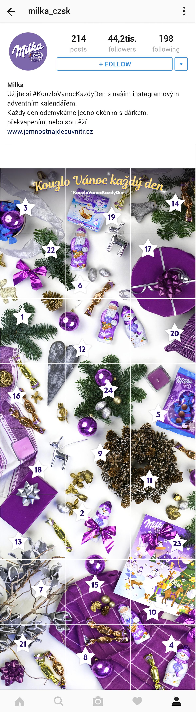 Adventní kalendář na Instagramu