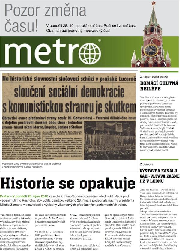 Volby 2013 / přebal deníku Metro