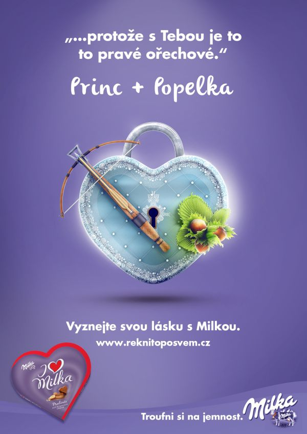 Jeden z valentýnských plakátů Milky